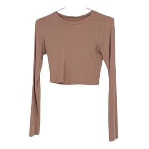 Garage rubbed king sleeve crop top blush pink small